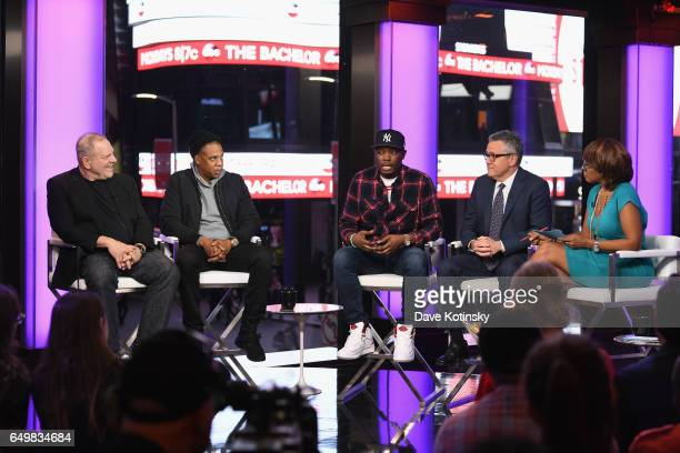 Harvey Weinstein Jay Z Michael Che Jeffrey Toobin and Gayle King speak onstage during TIME AND PUNISHMENT A Town Hall Discussion with JAY Z and...