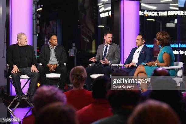 Harvey Weinstein Jay Z NYT writer Michael Schwirtz lawyer Paul Prestia and Gayle King speak onstage during TIME AND PUNISHMENT A Town Hall Discussion...