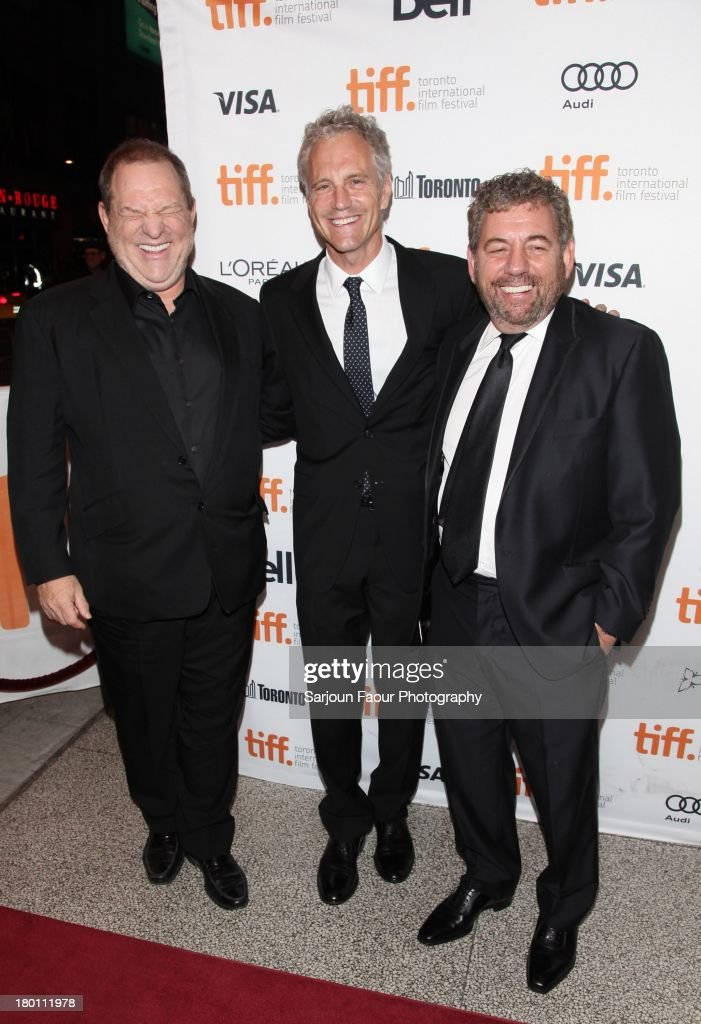 <a gi-track='captionPersonalityLinkClicked' href=/galleries/search?phrase=Harvey+Weinstein&family=editorial&specificpeople=201749 ng-click='$event.stopPropagation()'>Harvey Weinstein</a>, <a gi-track='captionPersonalityLinkClicked' href=/galleries/search?phrase=John+Sykes+-+Homme+d%27affaires+am%C3%A9ricain&family=editorial&specificpeople=211436 ng-click='$event.stopPropagation()'>John Sykes</a> and Jim Dolan attend the '12.12.12.' premiere during the 2013 Toronto International Film Festival at Winter Garden Theatre on September 8, 2013 in Toronto, Canada.
