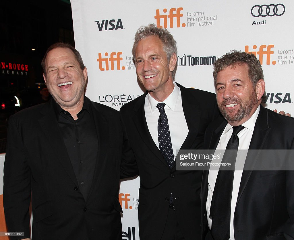 Harvey Weinstein, John Sykes and Jim Dolan attend the '12.12.12.' premiere during the 2013 Toronto International Film Festival at Winter Garden Theatre on September 8, 2013 in Toronto, Canada.