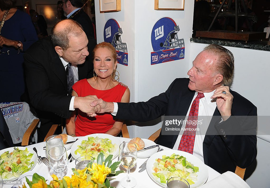 Harvey Weinstein, Kathie Lee Gifford and Frank Gifford attend the New York Giants Super Bowl Pep Rally Luncheon at Michael's on February 1, 2012 in New York City.