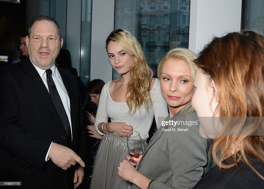 Harvey Weinstein, Lily James and Myanna Buring attend a VIP screening of Harvey Weinstein's 'Escape From Planet Earth' at The W Hotel on February 27, 2014 in London, England.