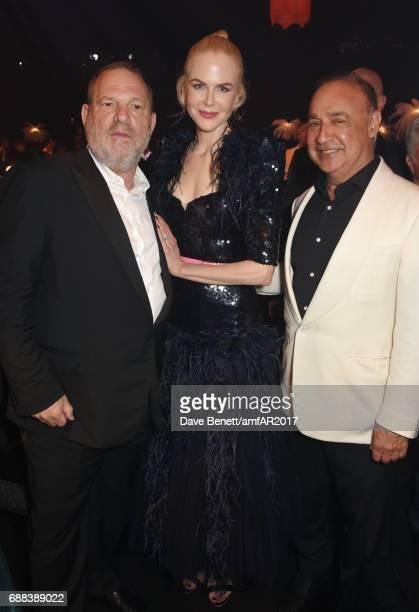 Harvey Weinstein Nicole Kidman and Len Blavatnik attends the amfAR Gala Cannes 2017 at Hotel du CapEdenRoc on May 25 2017 in Cap d'Antibes France