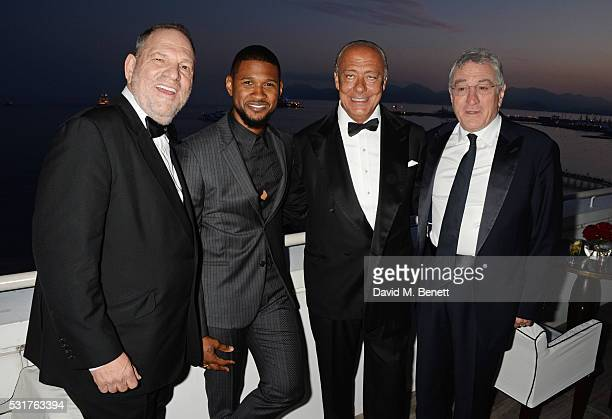 Harvey Weinstein Usher Raymond Fawaz Gruosi and Robert De Niro attend The Weinstein Company's HANDS OF STONE Cocktail Party presented by de Grisogono...
