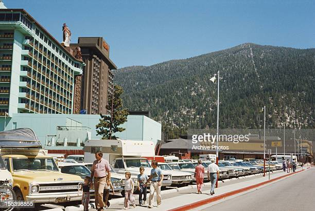 Harvey's and Harrah's resort hotels on Lake Tahoe in Stateline Nevada August 1974