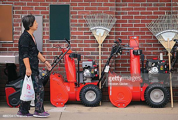 Harvey's Hardware in Needham center has three snowblowers out for sale on the sidewalk August 24 2015