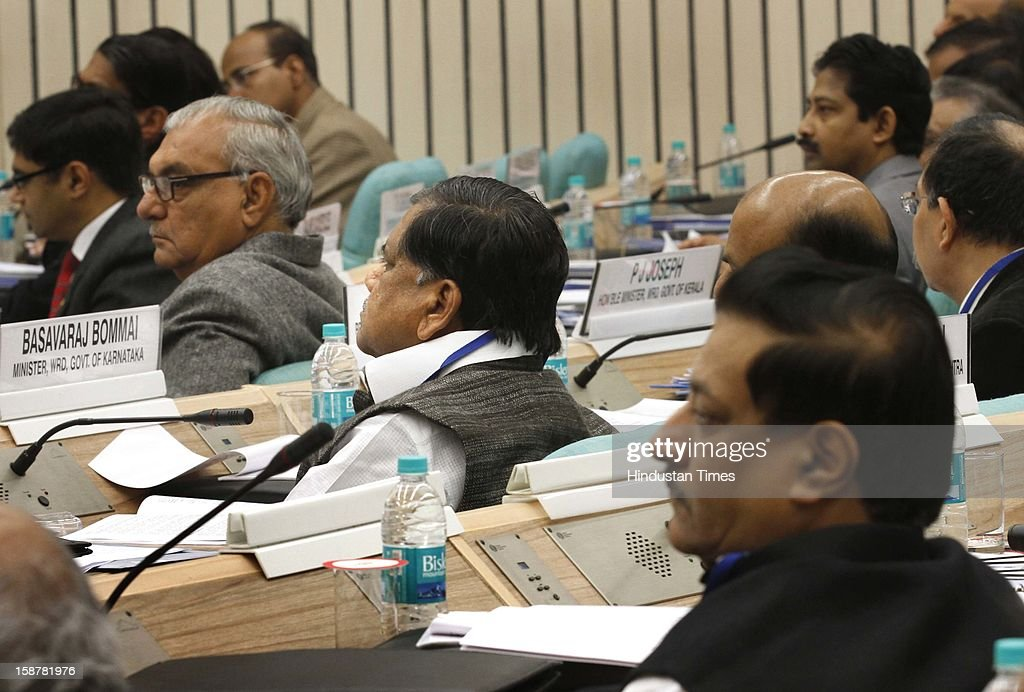 Haryana Chief Minister BS Hooda , Karnatka CM Jagadish Shettar ( centre ) and Maharashtra CM Prithviraj Chavan at the Sixth Meeting of the National Water Resources Council, at Vigyan Bhawan on December 28, 2012 in New Delhi, India.