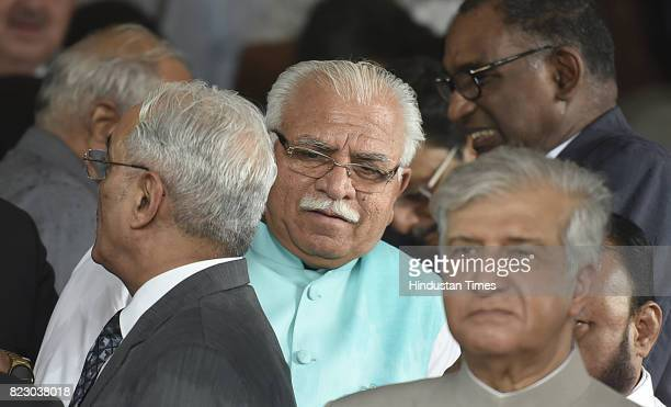 Haryana Chief Minister Manohar Lal Khattar after swearing in ceremony of the new president Ram Nath Kovind at Parliament House on July 25 2017 in New...