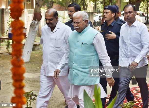 Haryana Chief Minister Manohar Lal Khattar arrives at MDI to lay the foundation stone for the girls' hostel on October 9 2017 in Gurgaon India