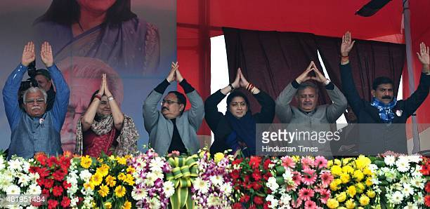 Haryana Chief Minister Manohar Lal Khattar Minister of Women and Child Development Maneka Gandhi Union Minister of Health and Family Welfare JP Nadda...
