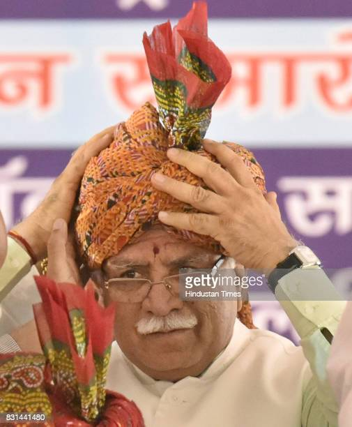 Haryana Chief Minister Manohar Lal Khattar with others during the inauguration function of Maharana Pratap Flyover and an underpass on the...