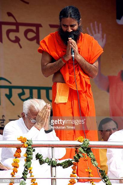 Haryana Chief Minister Manohar Lal with Yoga Guru Baba Ramdev during the felicitation function organized to honour Swami Ramdev on his appointment as...