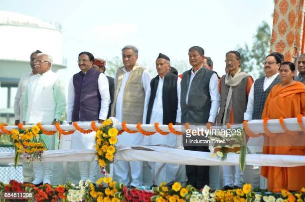 Haryana CM Manohar Lal Khattar BJP MP Ramesh Pokhriyal Nishank BJP leader Vijay Bahuguna MP Bhagat Singh Koshiyari former CM Harish Rawat MP BC...