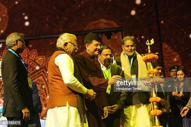 Haryana CM Manohar Lal Khattar Haryana Education and Tourism Minister Ram Bilas Sharma with Union Power Minister Piyush Goyal during the first...
