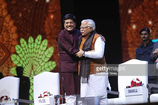 Haryana CM Manohar Lal Khattar with Union Power Minister Piyush Goyal during the first Pravasi Haryana Divas organised by Government of Haryana with...