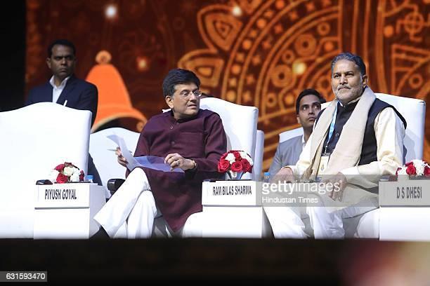 Haryana Education and Tourism Minister Ram Bilas Sharma with Union Power Minister Piyush Goyal during the first Pravasi Haryana Divas organised by...