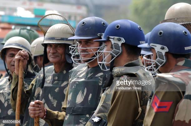 Haryana Police battalion deployed at DelhiGurgaon Sarhaul border due to Jat agitation on March 19 2017 in Gurugram India The community is planning to...