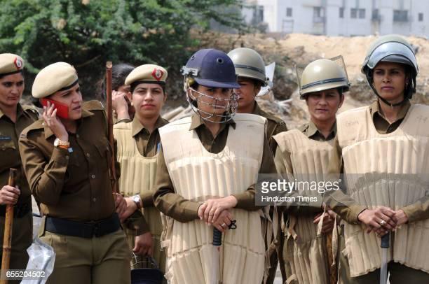 Haryana Police women battalion deployed at DelhiGurgaon Sarhaul border due to Jat agitation on March 19 2017 in Gurugram India The community is...