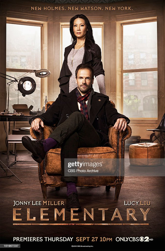 CBS has released a sneak peek of the key art designs for the Network's four new series, including the drama series ELEMENTARY.  The design for ELEMENTARY, a contemporary take on the legendary characters of Sherlock Holmes and Dr. Watson set in New York City, features series stars Jonny Lee Miller (Holmes) and Lucy Liu (Watson).  The copy reads:  New Holmes. New Watson. New York.