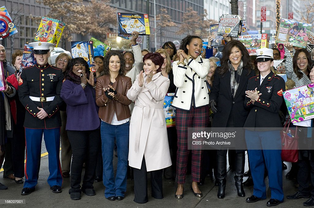 THE TALK has teamed up with Toys for Tots during the week of December 10-14 when the show broadcasts its annual week of holiday shows from New York City. Celebrity guests and audience members were asked to bring new, unwrapped toys to contribute to Sandy relief efforts and help make the holidays better for those affected. Sheryl Underwood, from left, Sara Gilbert, Sharon Osbourne, Aisha Tyler and Julie Chen, shown.