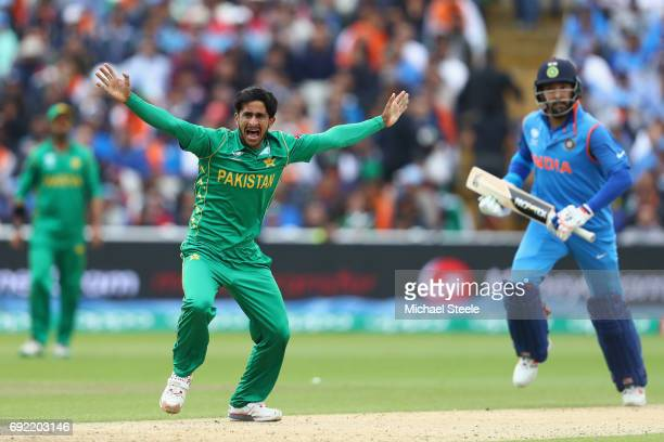 Hasan Ali of Paakistan appeals successfully for the lbw wicket of Yuvraj Singh of India during the ICC Champions Trophy match between India and...