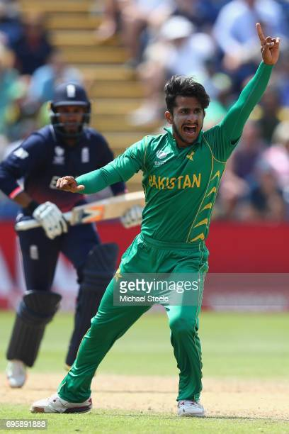 Hasan Ali of Pakistan appeals unsuccessfully for the wicket of Adil Rashid during the ICC Champions Trophy SemiFinal match between England and...