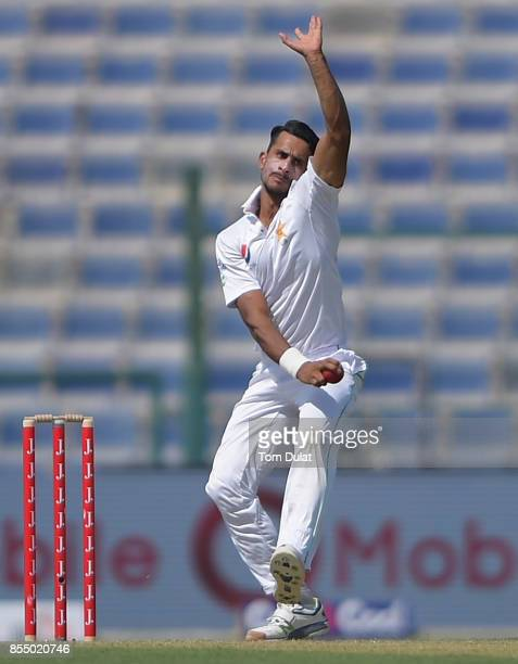 Hasan Ali of Pakistan bowls during Day One of the First Test between Pakistan and Sri Lanka at Sheikh Zayed Stadium on September 28 2017 in Abu Dhabi...