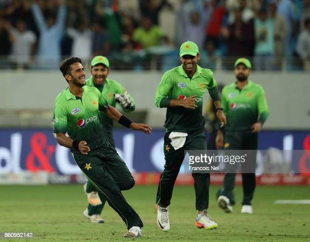 Hasan Ali of Pakistan celebrate after dismissing Milinda Siriwardana of Sri Lanka during the first One Day International match between Pakistan and...