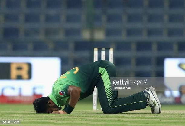Hasan Ali of Pakistan celebrates after dismissing Akila Dananjaya of Sri Lanka during the third One Day International match between Pakistan and Sri...