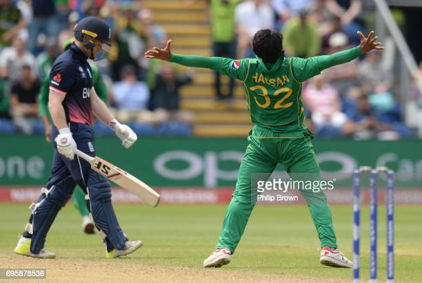 Hasan Ali of Pakistan celebrates after dismissing Eoin Morgan of England during the ICC Champions Trophy match between England and Pakistan at Swalec...