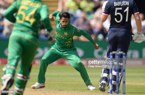 Hasan Ali of Pakistan celebrates after dismissing Jonny Bairstow of England during the ICC Champions Trophy match between England and Pakistan at...