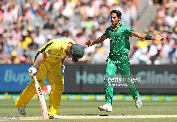 Hasan Ali of Pakistan celebrates after dismissing Travis Head of Australia during game two of the One Day International series between Australia and...