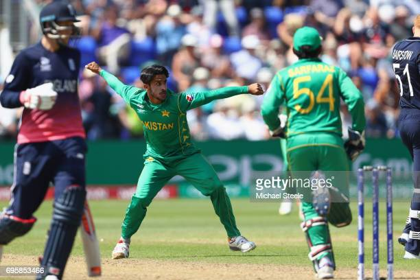 Hasan Ali of Pakistan celebrates capturing the wicket of Jonny Bairstow during the ICC Champions Trophy SemiFinal match between England and Pakistan...