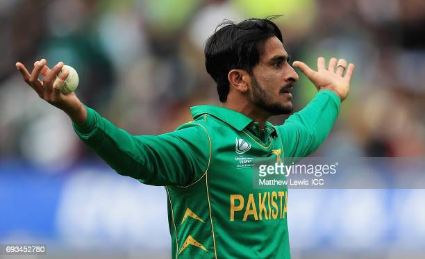 Hasan Ali of Pakistan celebrates catching Kagiso Rabada of South Africa during the ICC Champions Trophy match between Pakistan and South Africa at...