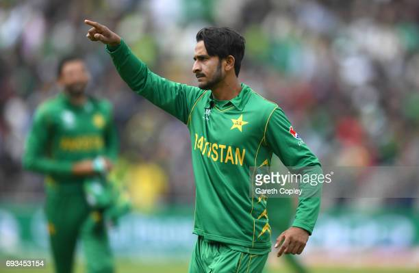 Hasan Ali of Pakistan celebrates catching out Kagiso Rabada of South Africa during the ICC Champions Trophy match between Pakistan and South Africa...