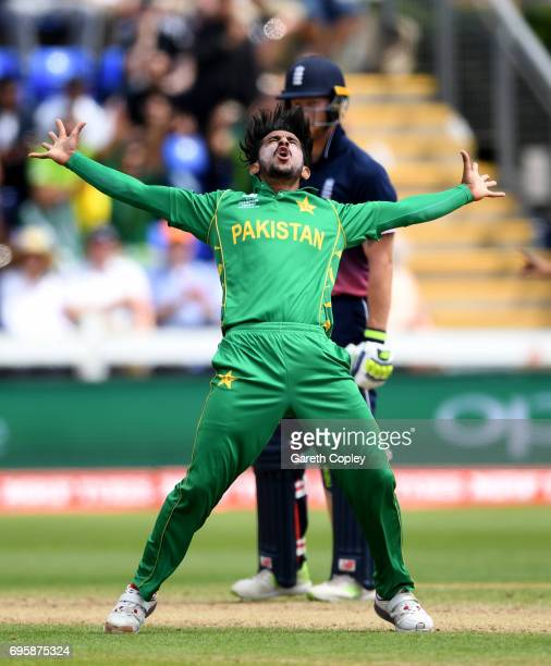 Hasan Ali of Pakistan celebrates dismissing England captain Eoin Morgan during the ICC Champions Trophy Semi Final between England and Pakistan at...