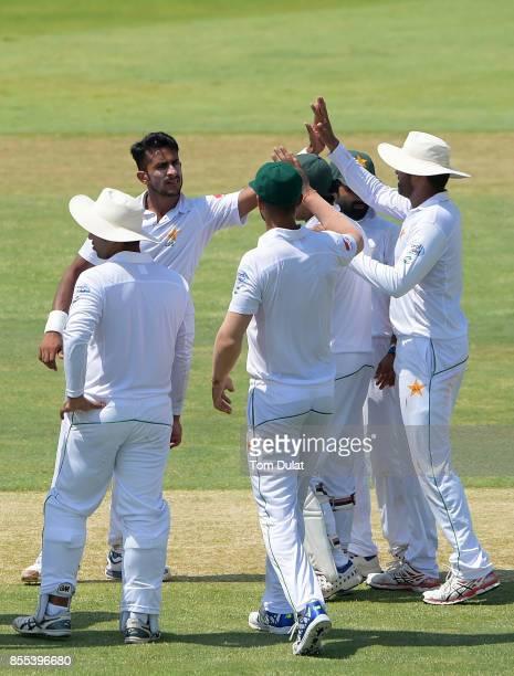 Hasan Ali of Pakistan celebrates taking the wicket of Niroshan Dickwella of Sri Lanka during Day Two of the First Test between Pakistan and Sri Lanka...