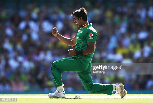 Hasan Ali of Pakistan celebrates taking the wicket of Steve Smith of Australia during game four of the One Day International series between Australia...
