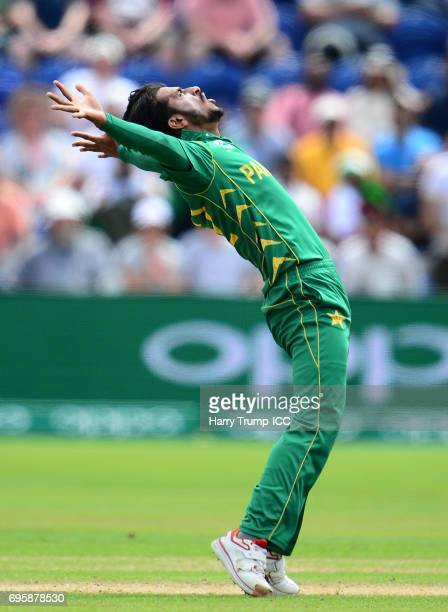 Hasan ALi of Pakistan celebrates the wicket of Eoin Morgan of England during the ICC Champions Trophy Semi Final match between England and Pakistan...