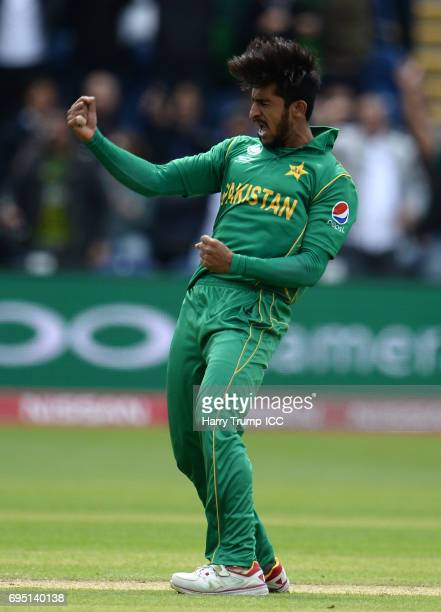 Hasan Ali of Pakistan celebrates the wicket of Kusal Mendis of Sri Lanka during the ICC Champions Trophy match between Sri Lanka and Pakistan at...