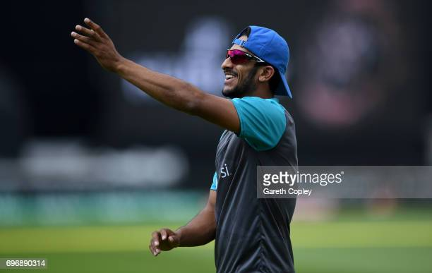 Hasan Ali of Pakistan during a nets session at The Kia Oval on June 17 2017 in London England