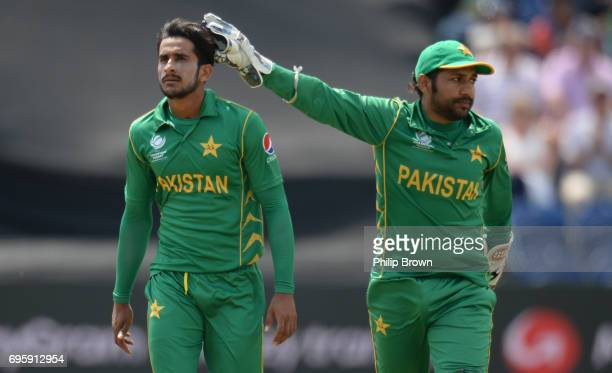 Hasan Ali of Pakistan is congratulated by Sarfraz Ahmed during the ICC Champions Trophy match between England and Pakistan at Swalec stadium on June...