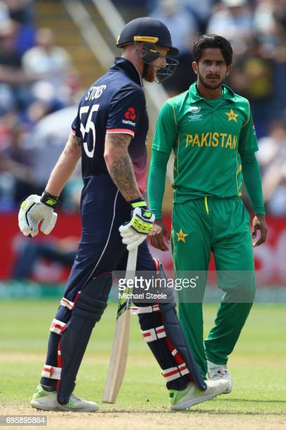 Hasan Ali of Pakistan looks towards Ben Stokes after capturing his wicket during the ICC Champions Trophy SemiFinal match between England and...