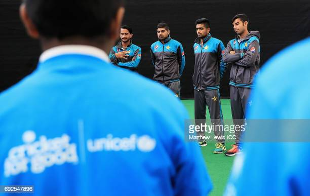 Hasan Ali of Pakistan pictured with team mates Haris Sohail Babar Azam Shadab Khan during an ICC Champions Trophy Cricket for Good clinic at...