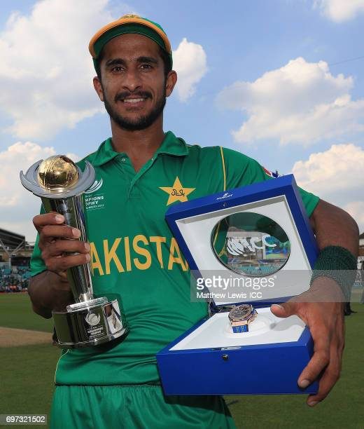 Hasan Ali of Pakistan with the 'Player of the Tournament' award after his teams win over India during the ICC Champions Trophy Final between Pakistan...