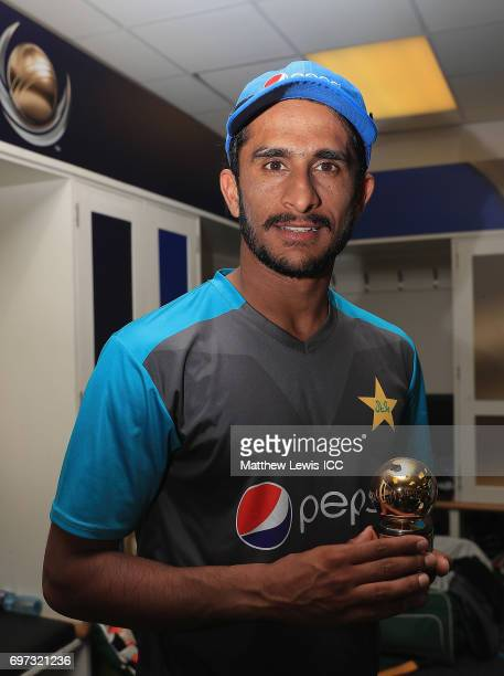 Hasan Ali of Pakistan with the the 'Golden Ball 'award after his teams win over India during the ICC Champions Trophy Final between Pakistan and...
