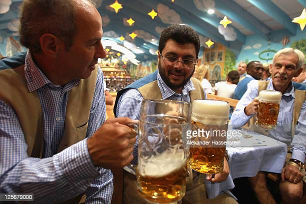 Hasan Ismaik attends with Reiner Maurer head coach of 1860 Muenchen and 1860 President Dieter Schneider the Oktoberfest 2011 at Hacker Festzelt on...