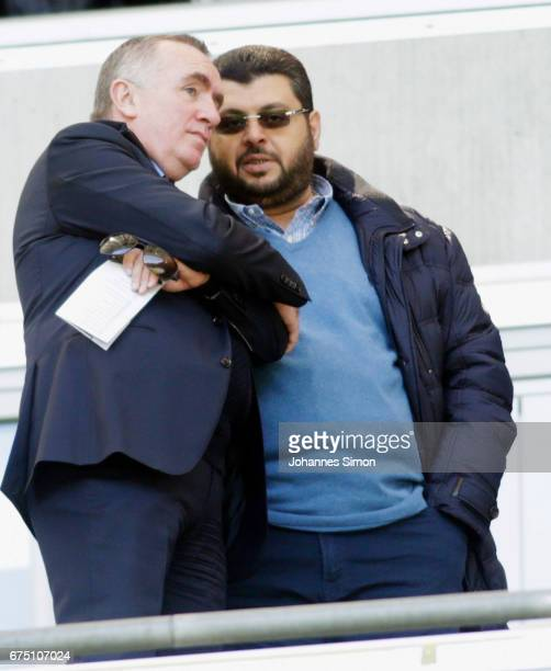 Hasan Ismaik Jordanian investor of Muenchen and Ian Ayre former CEO of FC Liverpool chat together prior to the Second Bundesliga match between TSV...
