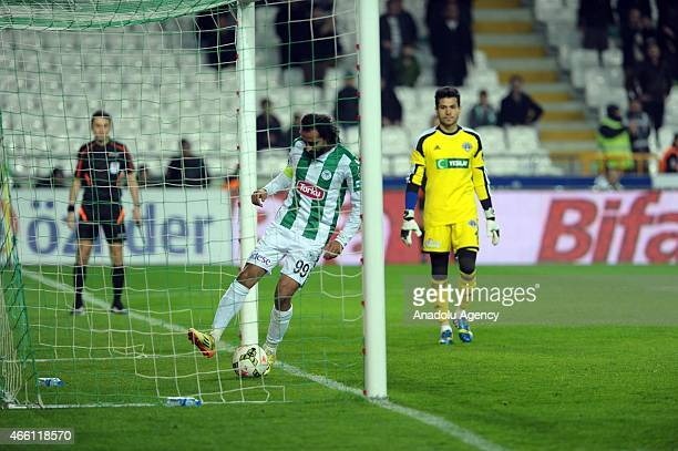 Hasan Kabze of Konyaspor scores a goal after the kickoff without any intervention of Kasimpasa players with the permission of their head coach Sota...