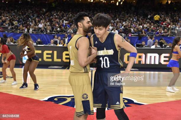 Hasan Minhaj of the West Team and Kris Wu of the EastTeam are announced before the NBA AllStar Celebrity Game as a part of 2017 AllStar Weekend at...